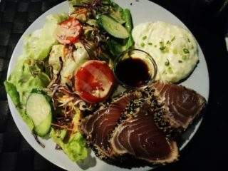 Tuna with wasabi and sesame